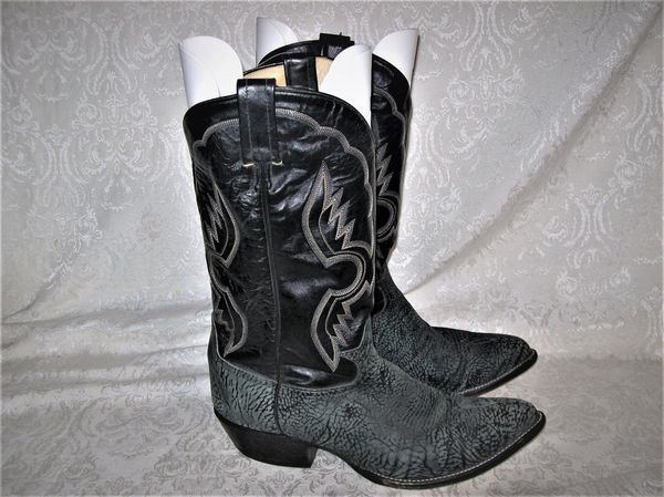 Tony Lama Cowboy Boots Black and Gray Leather size 10.5D Style #6252