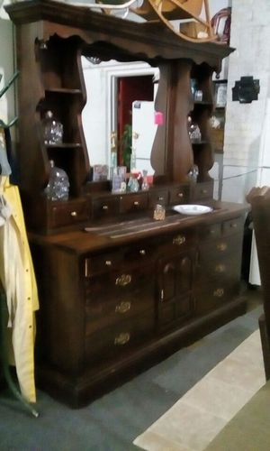 Ethan Allen dresser with mirror on wheels for Sale in Traverse City, MI