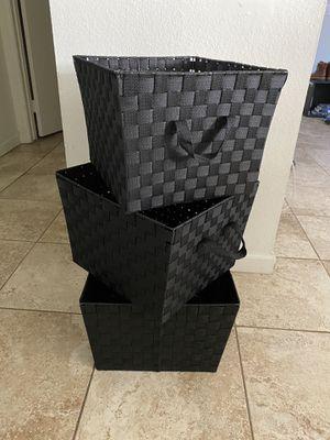 Theee black baskets for Sale in Arlington, VA