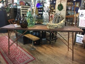Stunning Antique Primitive Rustic Industrial folding wallpaper table!! for Sale in Westerville, OH