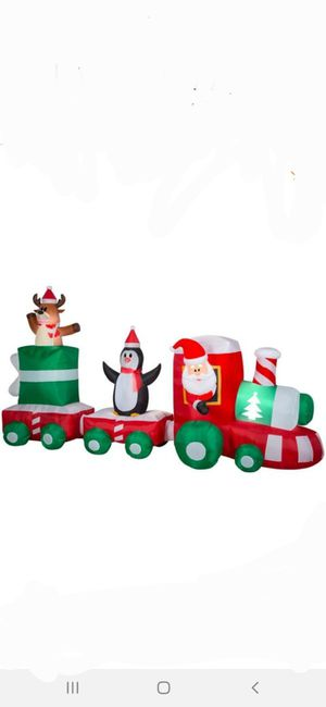 Home Accents Holiday 6 ft. H x 11.5 ft. L Pre-Lit Airblown Inflatable Christmas Train Scene with Santa, Penguin and Reindeer for Sale in San Bernardino, CA