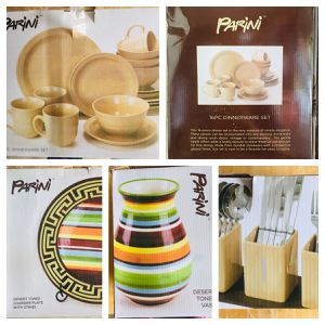 Parini Dish Utensils Vase and Plate Set (NEW and VERY COLORFUL) for Sale in Glendale, AZ