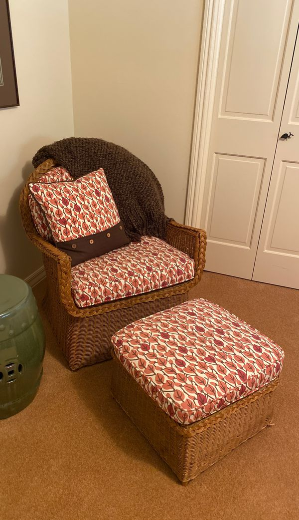 Bed, bedding and Henredon wicker chair