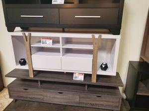 Pear TV Stand up to 70in TVs, White and Dark Taupe for Sale in Tustin, CA