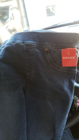 2 Spanx sz M inner and or outerwear 1 denim one faux leather black for Sale in Asheville, NC