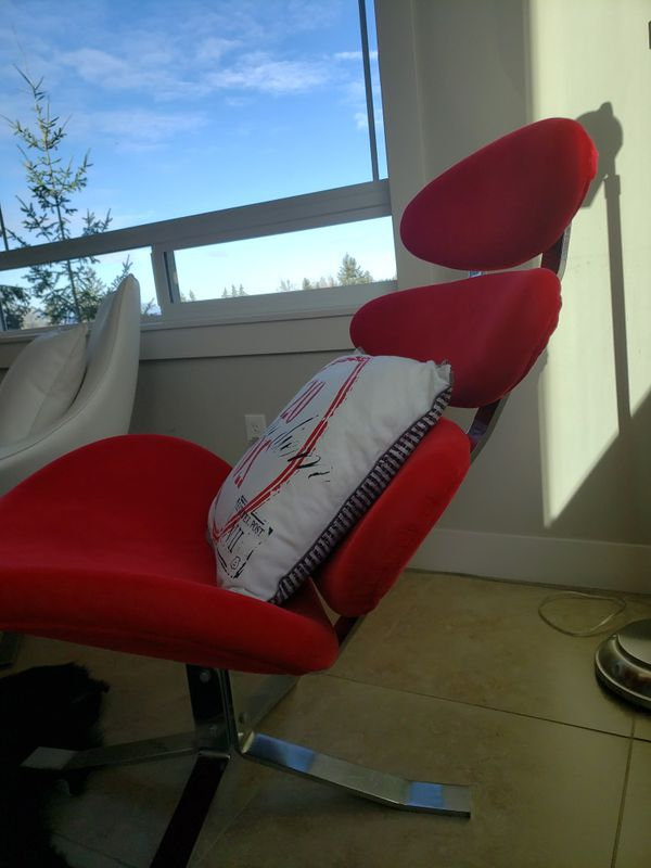 Red Swivel Accent Chair And Footstool