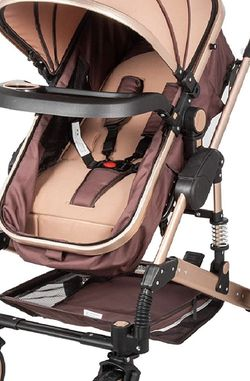 NEW Baby Stroller 2 in 1 Khaki Portable Baby Carriage Stroller Anti-Shock Springs Foldable Luxury Baby Stroller Adjustable High View Pram Travel Syste for Sale in Carson,  CA
