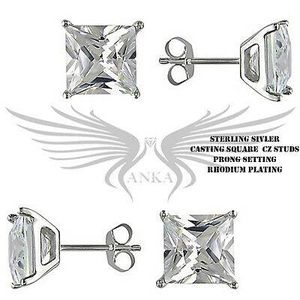 Sterling Silver 925 RHODIUM PLATED CZ Diamond Stud Earrings for Sale in Garland, TX