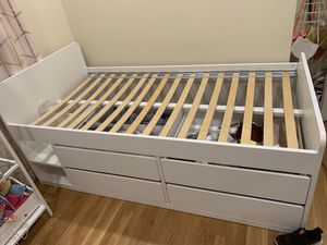 White twin bed frame storage for Sale in West Springfield, VA