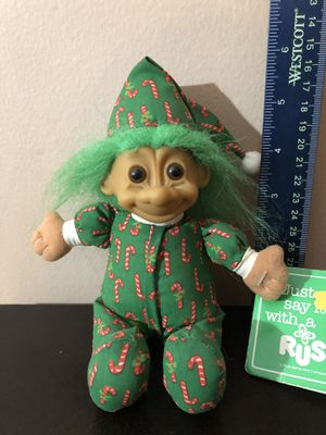 "Vintage 7"" Russ Red Haired Troll Doll in Baby Candy Cane PJ's & Matching Cap w/Original Tag/Toys/Collectibles/Kids/Antiques for Sale in Tinley Park, IL"