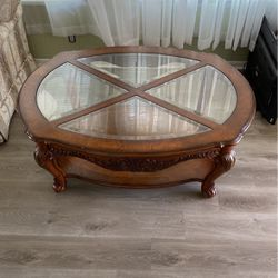 Nice Wooden Coffee Table With Four Glass Pieces for Sale in Ruskin,  FL