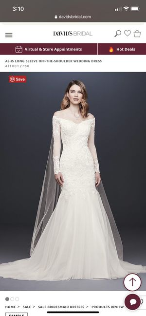 DAVID'S BRIDAL LONG SLEEVE OFF-THE-SHOULDER SIZE 4 PETITE WEDDING DRESS for Sale in Buena Park, CA