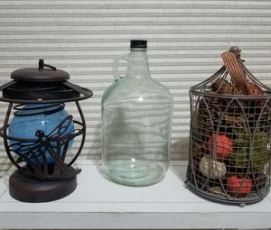 Home decor Glass Jug, Firefly Lantern and Wire table topper for Sale in Grand Prairie, TX