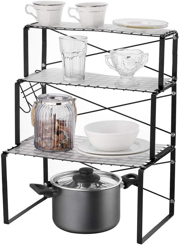 NEUN WELTEN Multi-use 3 Tier Kitchen Cabinet and Counter Shelves Storage Organizer Rack with 3 Hooks and Shelf Liner (Matt Black)