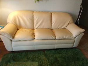 Off-White Leather Couch for Sale in Glendale, AZ