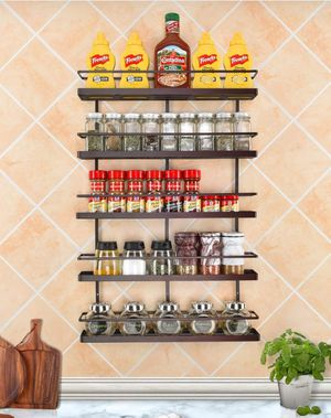 5 wall shelves for spices organizers, cabinet door shelf Size: 16.0 in width x 3.0 in depth x 2.6 in height; each space level: 5.7 in.( brand new) for Sale in Ontario, CA