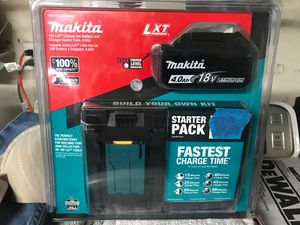 Makita 18-Volt LXT Lithium-Ion High Capacity Battery Pack 4.0Ah with Fuel Gauge and Charger Starter Kit for Sale in Fremont, CA