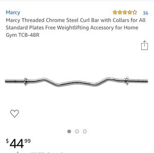 Marcy standard plate threaded curl bar w collars for Sale in Bronxville, NY
