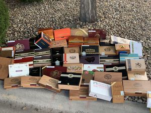 Various cigar supplier humidors, all containing no tobacco of any kind. Merely offering. some potentially nostalgic accessories to the few who may f for Sale in Parker, CO