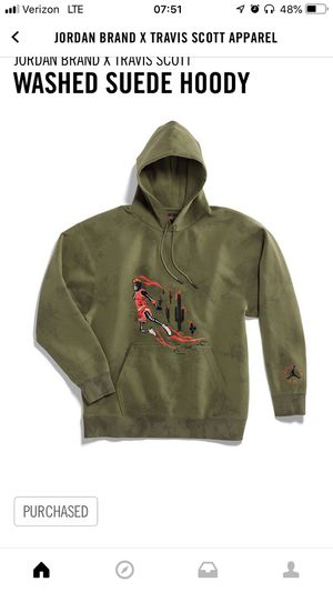 Travis Scott Air Jordan Suede Hoody Sz XL Olive Air Jordan 6 Hoodie for Sale in Lakeside, CA