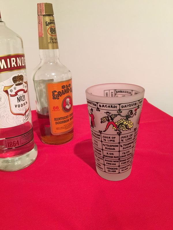 VINTAGE MIXED DRINK RECIPE GLASS