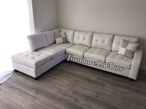 New White Bonded Leather Reversible Sofa Sectional Couch for Sale in Orange, CA
