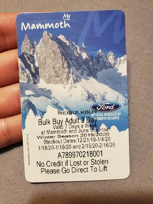 Mammoth 3 Day Adult Lift Ticket for Sale in Rialto, CA
