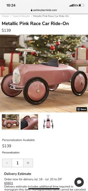 Pottery barn kids ride on toy pink car for Sale in Roselle, IL