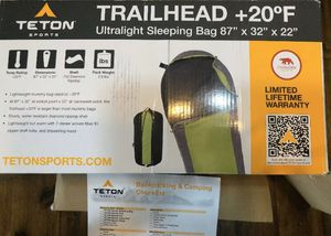 TETON Sports TrailHead +20F Ultralight Adult Mummy Sleeping Bag - Gray/Green for Sale in Las Vegas, NV