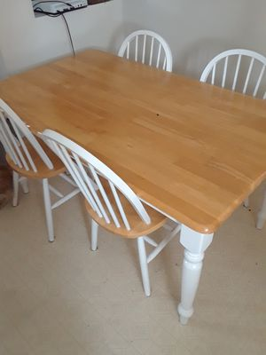 Wood table with 4 chairs for Sale in Charlevoix, MI