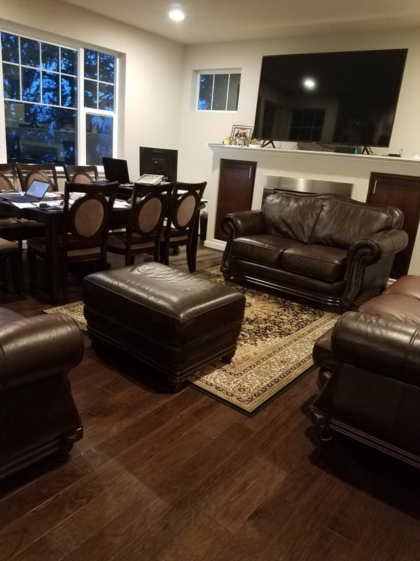 4 Pc Genuine Real Leather Couch