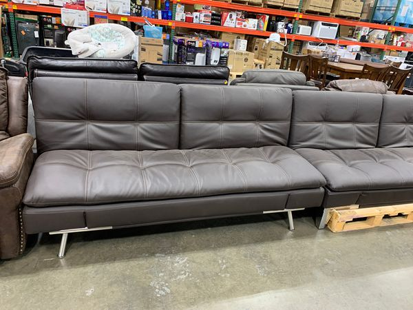 Couch futon in brown leather