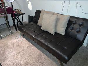 Chocolate Brown Leather Futon for Sale in Marietta, GA