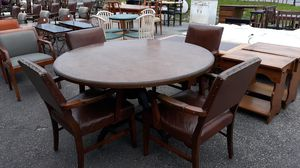 54 inch round heavy iron base table with 4 chairs for Sale in High Point, NC
