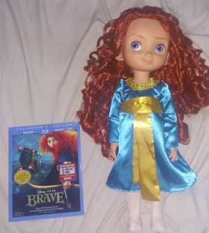 """Brave 3 Disc DVD/BluRay And 15"""" Princess Merida Doll for Sale in Winter Haven, FL"""