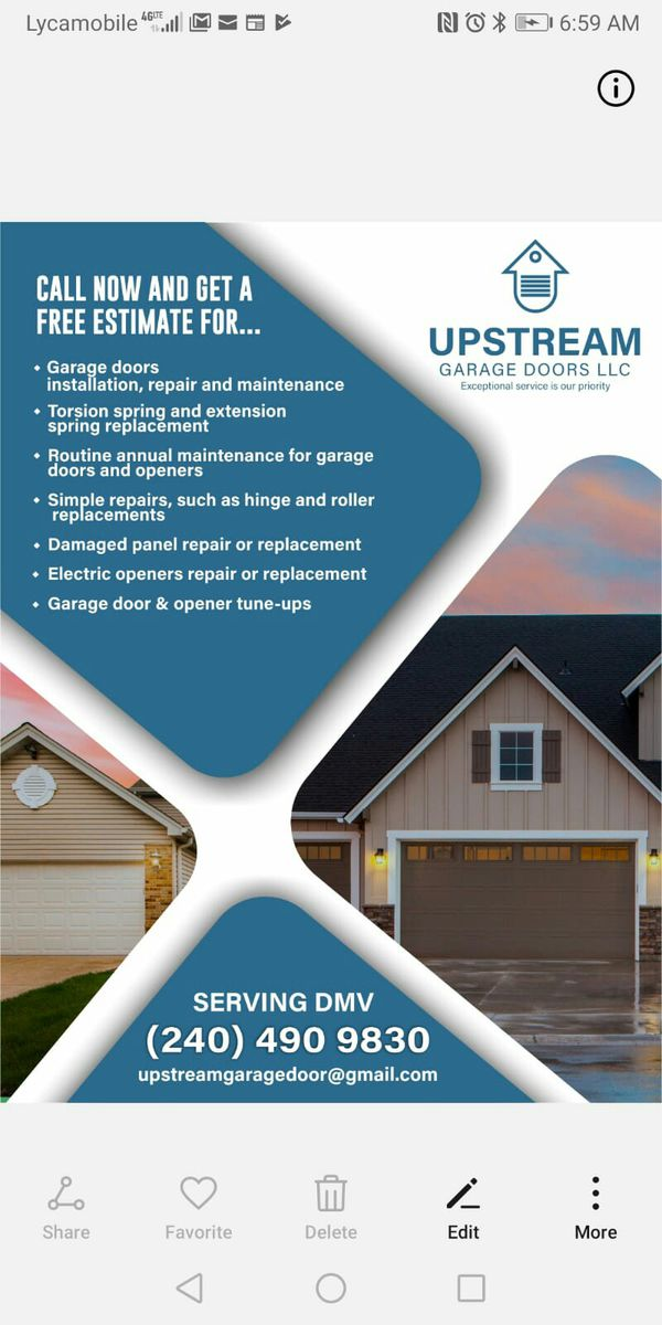 Available for garage door & opener installation & Repairs. Call {contact info removed}.