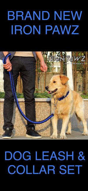 Iron Pawz Heavy Duty Professional Training Dog Leash and Collar Set Blue and Black for Sale in Avondale, AZ