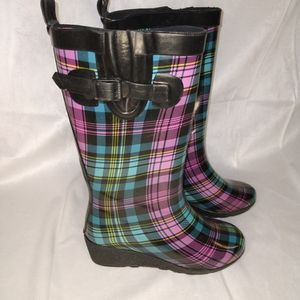 Women's Multicolor Wedge Rain Boots Size 7 for Sale in Duluth, GA