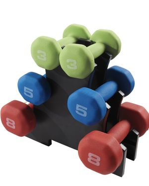 NEW Fitness Gear 32 lb. Neoprene Dumbbell Kit Weights Rack Set for Sale in Naperville, IL