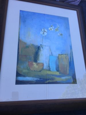 Large Flower and Vase Picture with brown frame for Sale in Portsmouth, VA