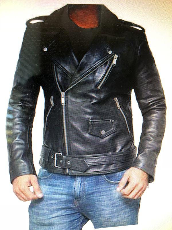 Black leather jacket mens stylish