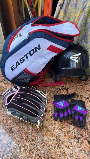 Girls baseball hat,bag,gloves & mitt for Sale in San Bernardino, CA
