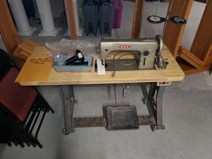 Rex Industrial Sewing Machine with Table and accessories for Sale in Burnsville, MN