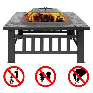 "32"" Square Fire Pit Fire Bowl Outdoor BBQ Burning Grill Heater W Poker Grate for Backyard, Camping, Picnic for Sale in Los Angeles, CA"