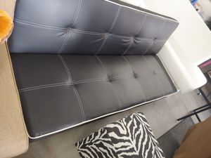 Beautiful black and white leather like futon sofa 3 position $159.99 for Sale in Phoenix, AZ