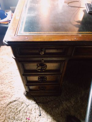 Heavy wood desk... antique heavy duty for Sale in Fontana, CA