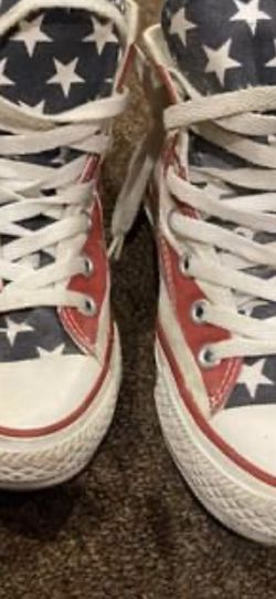 Vintage CONVERSE Chuck Taylor American Flag Print Unisex Classic MENS SIZE 3 Women's 5 MADE IN USA for Sale in Mount Vernon, NY