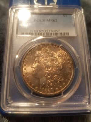 Semi key date 1887 S morgan silver dollar pcgs ms62 original toned coin for Sale in Anaheim, CA