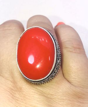 Natural bright Red Coral large oval stone & .925 stamped sterling silver Antique design ring size 7 NEW! for Sale in Carrollton, TX