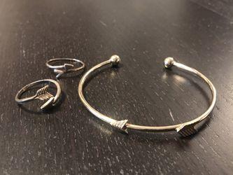 Arrow Bangle Bracelet & 2 Arrow Rings, Adjustable for Sale in Kent,  WA